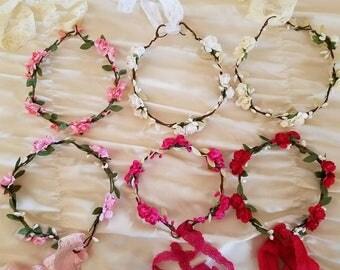 Paper Flower Crown Headband, Newborn, Photo Prop, Flower Girl, Wedding, Vintage, Shabby Chic