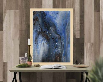 Brown and blue abstract // Acrylic Painting// Original Handmade // Signed // wall ready //  wall art // modern art // anniversary present