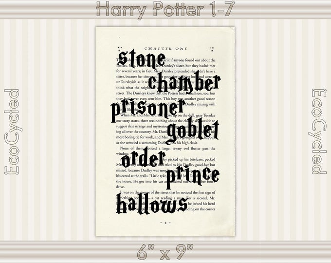 Harry Potter Book Title Graphic Word Art on Vintage Dictionary Art Print/ Book Art Print/ book lover gift/book page art/ typography art
