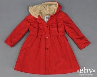 Girl's Vintage Coat Shearling Coat Red Coat 70s Coat 1970s Coat Kid's Vintage Children's Vintage 70s Vintage Coat Toddler Vintage 5T 5