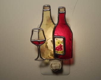 Stained Glass Night Light- (Wine Bottle and Glass) Request Production