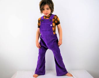Kids dungarees overalls purple childrens corduroy dungarees plum girls boys autumn baby retro colorful colour kids cords flare or straight