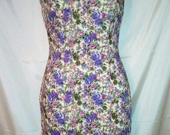 "SPRING CLEARANCE SALE 60s Vintage Floral Sheath Wiggle Day Dress-Jackie o-Summer Resort Casual Party Office-Size 4-36"" Bust-Small-Pretty"