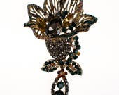 Reserved Vintage Rhinestone Lily Brooch with Marcasite, Emerald, Yellow Topaz Crystal Rhinestones