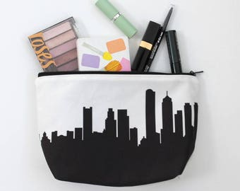 BOSTON Skyline Cosmetic Bag. Skyline Makeup Bag. Twill Makeup Bag. Skyline Silhouette Purse. Gifts for Her.