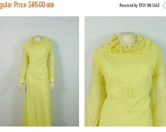 B-DAY SALE Vintage Dress 60s Mad Men Formal Dress Lemon Yellow Full Length Ruffle Collar Chiffon Sleeves Prom Dress Size 22 1/2 Modern Size