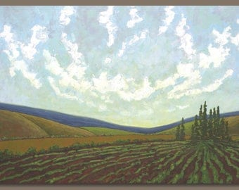 FREE SHIP large landscape painting, semi abstract painting, cloud painting, farm fields, oblong, nova scotia, agriculture, wall art