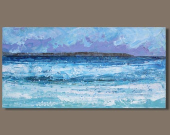 abstract painting, seaside panorama, ocean panorama, gift for him, seascape painting, ocean painting, blue small painting, impressionist art
