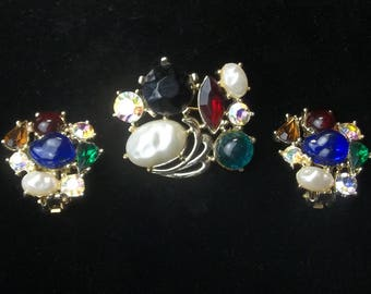 Vintage 1950's Multi Glass Stone Baroque Pearl Rhinestone Earrings & Brooch Mid Century Costume Jewelry Demi Parure Gift For Her on Etsy