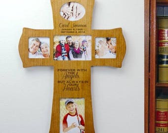 Engraved Wooden Photo Memorial Cross, Personalized Memorial Frame, Sympathy Gift