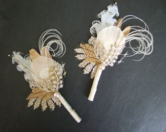 "PAIR (set of Two) Bridal Gold White Pheasant Peacock Feathers Vintage Lace Veil ""Cia"" Boutonniere Corsage Father of the Bride Rustic Wedding"