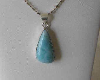 "Larimar Pendant Handmade Natural Blue Dominican Larimar 1 1/2"" Sterling Silver Pendant Larimar Necklace Take 20% Off Blue Larimar Jewelry"