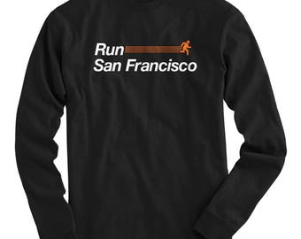 LS Run San Francisco V2 Tee - Long Sleeve T-shirt - Men S M L XL 2x 3x 4x - San Francisco Running Shirt, San Francisco Jogging Shirt Run SFO