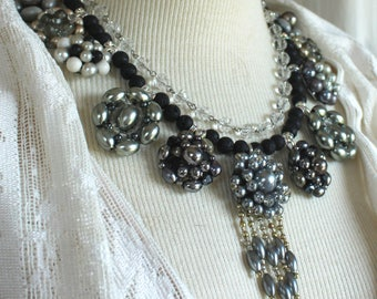 Assemblage necklace vintage clip on earrings layered antique statement mother of bride wedding bridal stunning silver gray gorgeous formal