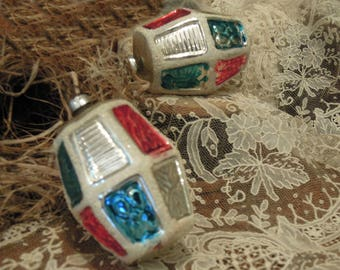 Two Vintage Mercury Glass Ornaments / Blue Red and Silver Christmas Ornaments