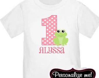 ON SALE Frog Pink Personalized Birthday Shirt - ANY Age