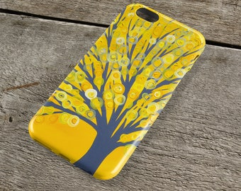 Yellow & Grey Tree iPhone Case for iP4, iP5/S/SE, iP5C, iP6/S, iP6+/S, iPod Touch 5 - Yellow Phone Case, Yellow iPhone Case, Yellow and Gray