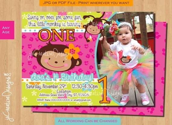 First birthday monkey girl birthday invitation monkey invitation il570xn filmwisefo