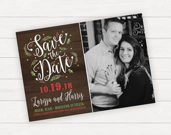 Christmas Save the date, Save The Date Magnet, Printable Save The Date, Printed Save The Date, Holiday Save The Date