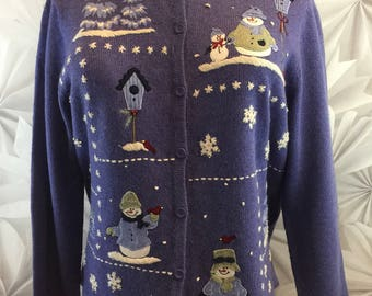 Ugly Christmas Sweater Cardigan Womens Purple Angora Blend Sz Large Euc Snowmen