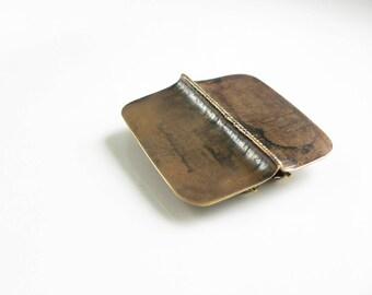 Statement brooch, Brass brooch, Contemporary brooch, fold formed jewelry, Modernist brooch, Contemporary jewelry, Bronze jewelry