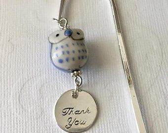ON SALE Thank You Bookmark, Ceramic Owl Bookmark, Useful Gift, Teacher Gift, Book Club, Thanks, Tutor, Professor, Librarian, Principal, Fron