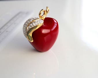 Signed Kenneth Lane Red  Lucite  Apple Necklace  #1763