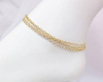 14k Gold Chain Multi Strand Anklet Layered Ankle Bracelet 14k Gold Chain Anklet 14k Gold Filled Anklet or Bracelet BuyAny3+get1 Free