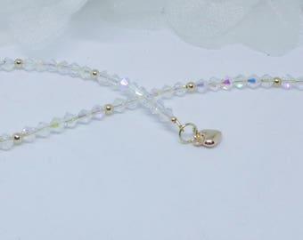 14kt Gold Heart Anklet Easter Gift 14kt Gold Anklet Gift For Girlfriend 14 Karat Gold Anklet Clear Crystal Ankle Bracelet BuyAny3+Get1 Free