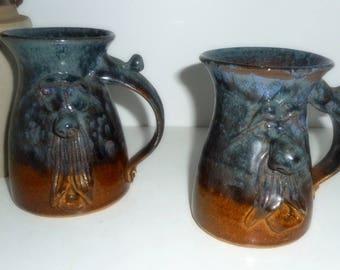 Coffee Mugs, Faces Mugs, Pottery Mugs , Navy Mugs, Handmade Mugs