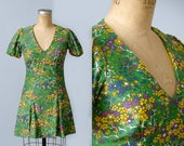 60s Dolly Dress Bright Green Floral Psychedelic Mini Dress