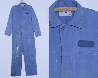 1970s Mechanics Jumpsuit Distressed Blue Cotton Denim Utility Garage Coveralls