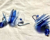 Upcycled ear rings, hypoallergenic ear rings, blue and white ear rings, ear rings under 30 dollars, gift for her, 2.5 in L, unusual ear ring