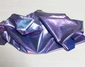 Italian Lambskin leather hide skin hides skins HOLOGRAPHIC colors on BLUE 6+sqf