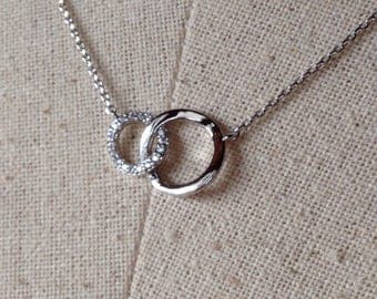 Pavé Two Circles Necklace in Silver, Dainty Necklace, Tiny Round Necklace