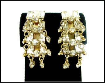Clear Rhinestone Cha Cha Earrings, Baguette Rhinestone Earrings, Gold Ear Climbers, Bridal Formal Wedding, Stage Performance, Gift For Her