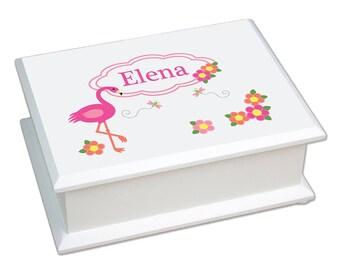 Personalized Lift Top Jewelry Box with Pink Flamingo Design-jeweb-342
