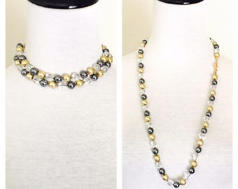 Vintage 1980 Joan Rivers Necklace, Gold Tone, Clear Glass, Faux Pearls, Item No. B023