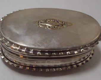Silverplate Hinged Lid Dresser Trinket Box Ruffled Trim & Applied Design