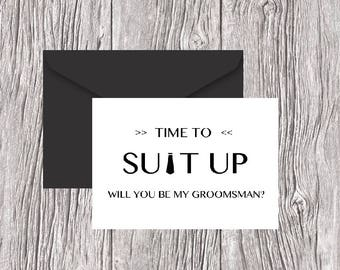 Will You Be My Groomsman Card, Best Man, Usher, Ring Bearer, Wedding Party - Fun, Simple Way for Guys to Ask Groomsmen Cards