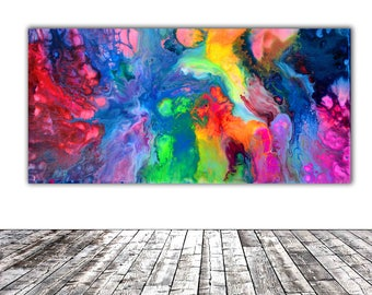 """ORIGINAL ABSTRACT ART - 20x10"""" - Fusion 2, Unique Original Fluid Abstract Painting Fine Art One of a Kind, Gift Wall Decor"""
