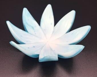Light Blue & White Resin flower ring holder / tree