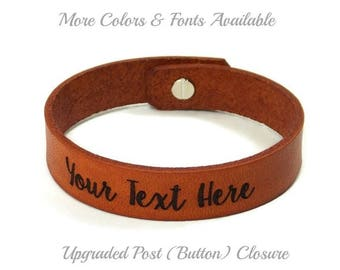 Personalized Leather Bracelet, Laser Engraved Bracelet, Custom Leather Bracelet, Mens Bracelet, Upgraded Post (Button) Closure, Couples Gift