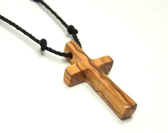Cross Necklace Men, Mens Cross Jewelry, Minimalist Cross Necklace, Mens Cross Necklace Pendant, Holy Land Olive Wood, Bethlehem Olive Cross