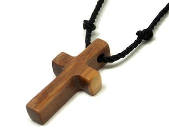 Tigerwood Cross Pendant, Simple Cross Necklace, Mens Cross Pendant, Wood Cross Necklace, Mens Jewelry Cross, Christian Cross, Gifts Under 20