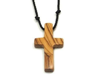 Holy Land Olive Wood, Bethlehem Olive Cross, Simple Cross Pendant, Mens Cross Necklace, Mens Jewelry Cross, Gifts Under 25, Husband Gift
