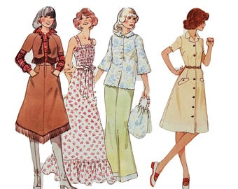 1970s RETRO Creative Patterns: E1 Edges and Trims, Fringed Skirt, Bolero Jacket, Scalloped Blouse and Dress