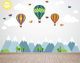 Mountains Wall Decal, Hot Air Balloon Wall Decal, Kids Wall Decals Ecofriendly No Toxins No PVCs Decals, WD900AA