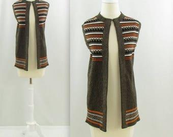 SALE Southwest Knit Vest - Vintage 1970s Womens Sweater Vest - Medium Large