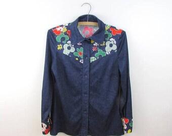 SALE Womens Rockabilly Western Shirt - Vintage 1970s Faux Denim Top in Medium